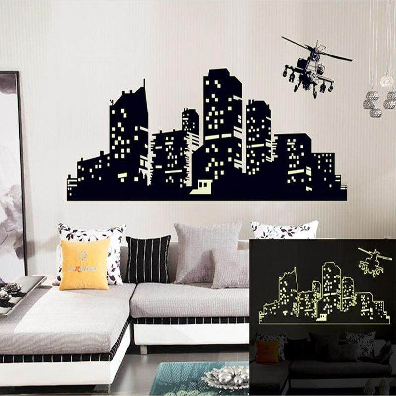 Large Fluorescent Luminous vinyl Wall Stickers of the night sky Wall Stickers for kids room or