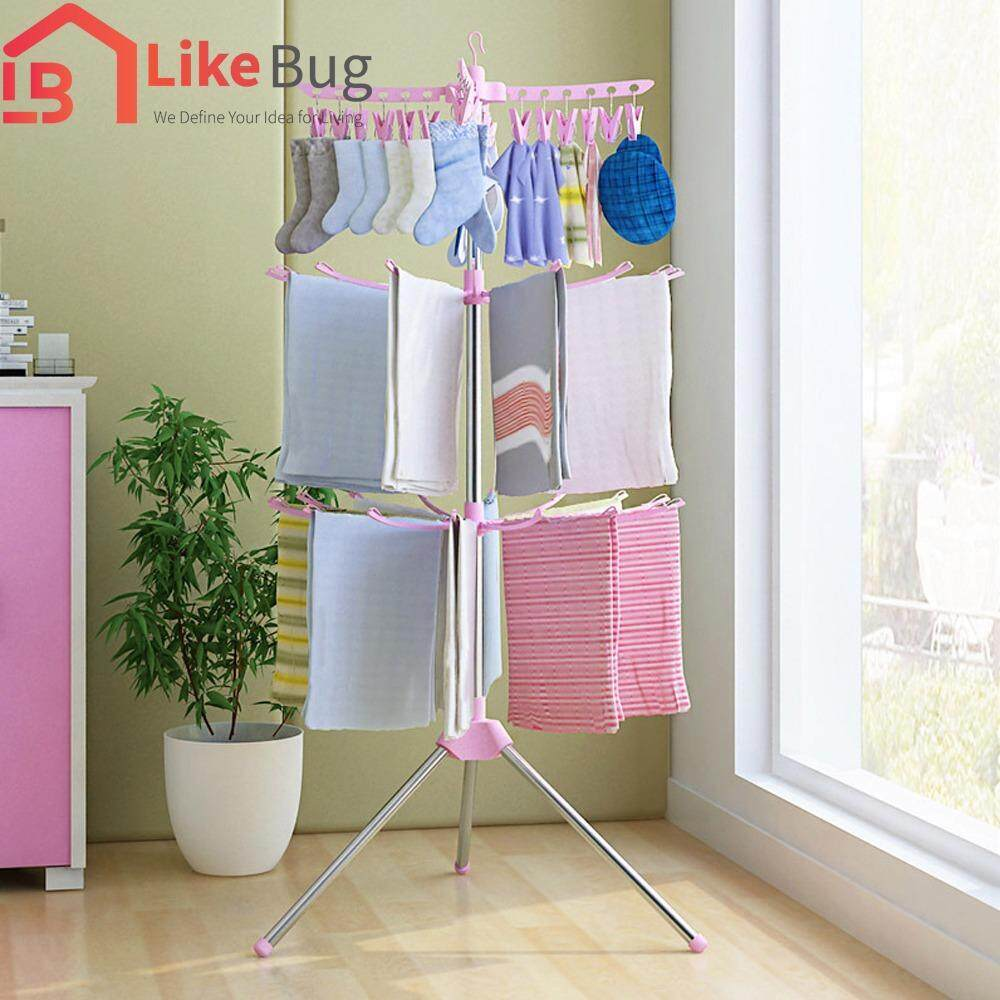 Like Bug Stationary Outdoor 3 Tier Clothes Suspended Drying Rack