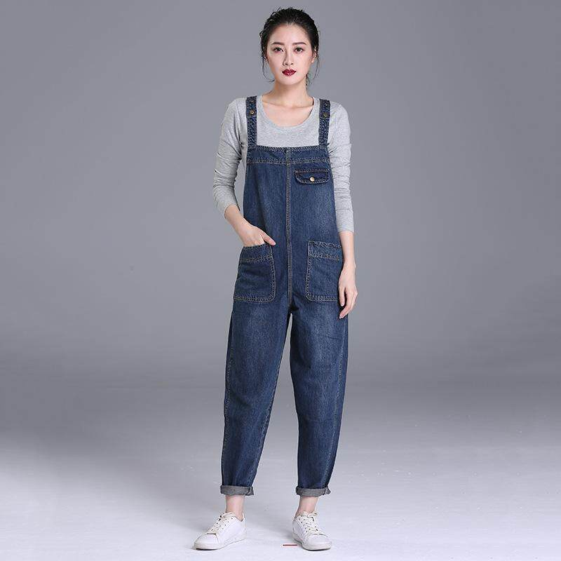 fd0d81330d38e 2019 Women Korean Loose Large Size Denim Jumpsuit Dress