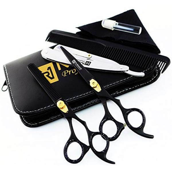 Macs Professional Black & Gold Plated Beauty full Double Tone Combination Razors Edge Barber Hair Cutting Scissor/Shear Set Made Of 440 Japanese Stainless Steel 6.5 -15043