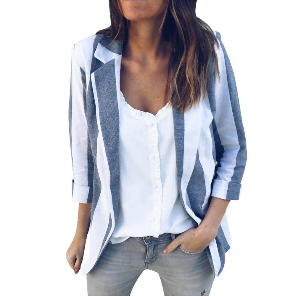 bad240615fd89 Freeshipping Pikaqius99 Womens Office Work Long Sleeve Open Casual Striped  Cardigan Suit Coat Jacket