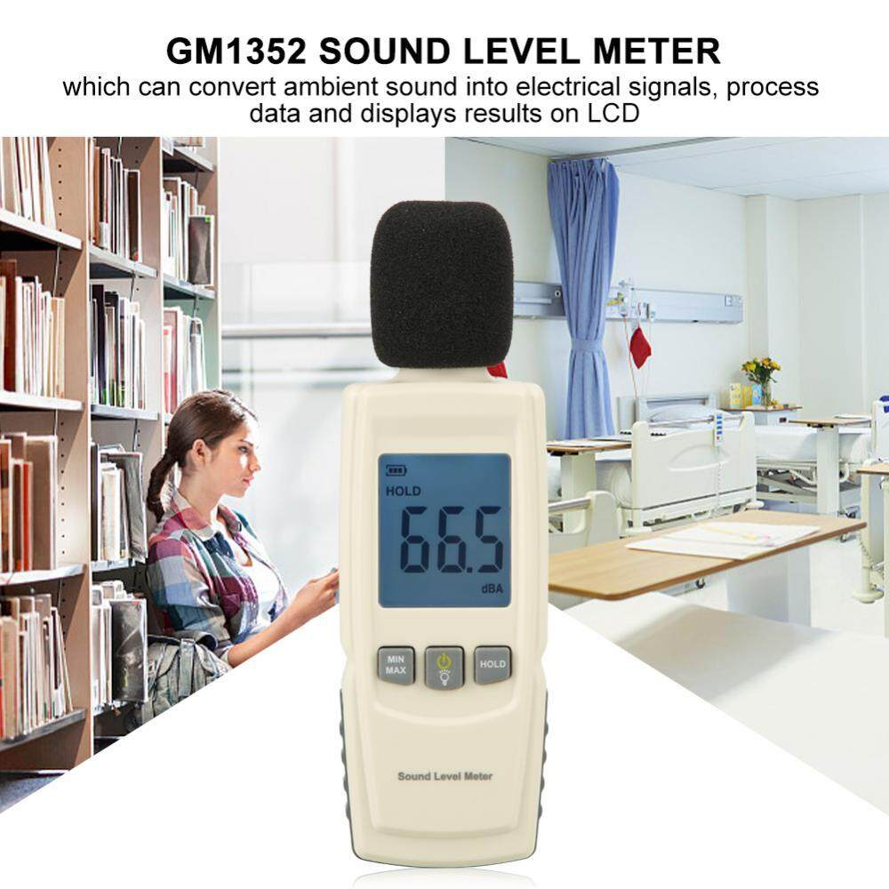 【Ele】GM1352 Portable Digital LCD Sound Level Meter Noise Tester Range from 30dB to 130dB Decibels - intl(Beige)