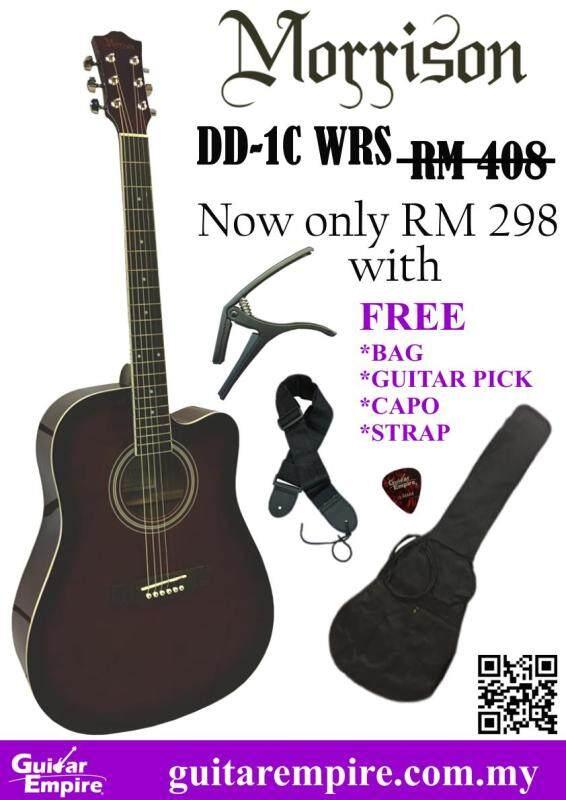 Morrison 41inch Acoustic Guitar DD-1C, Maroon COLOR, FREE BAG, CAPO, STRAP, GUITAR PICK Malaysia