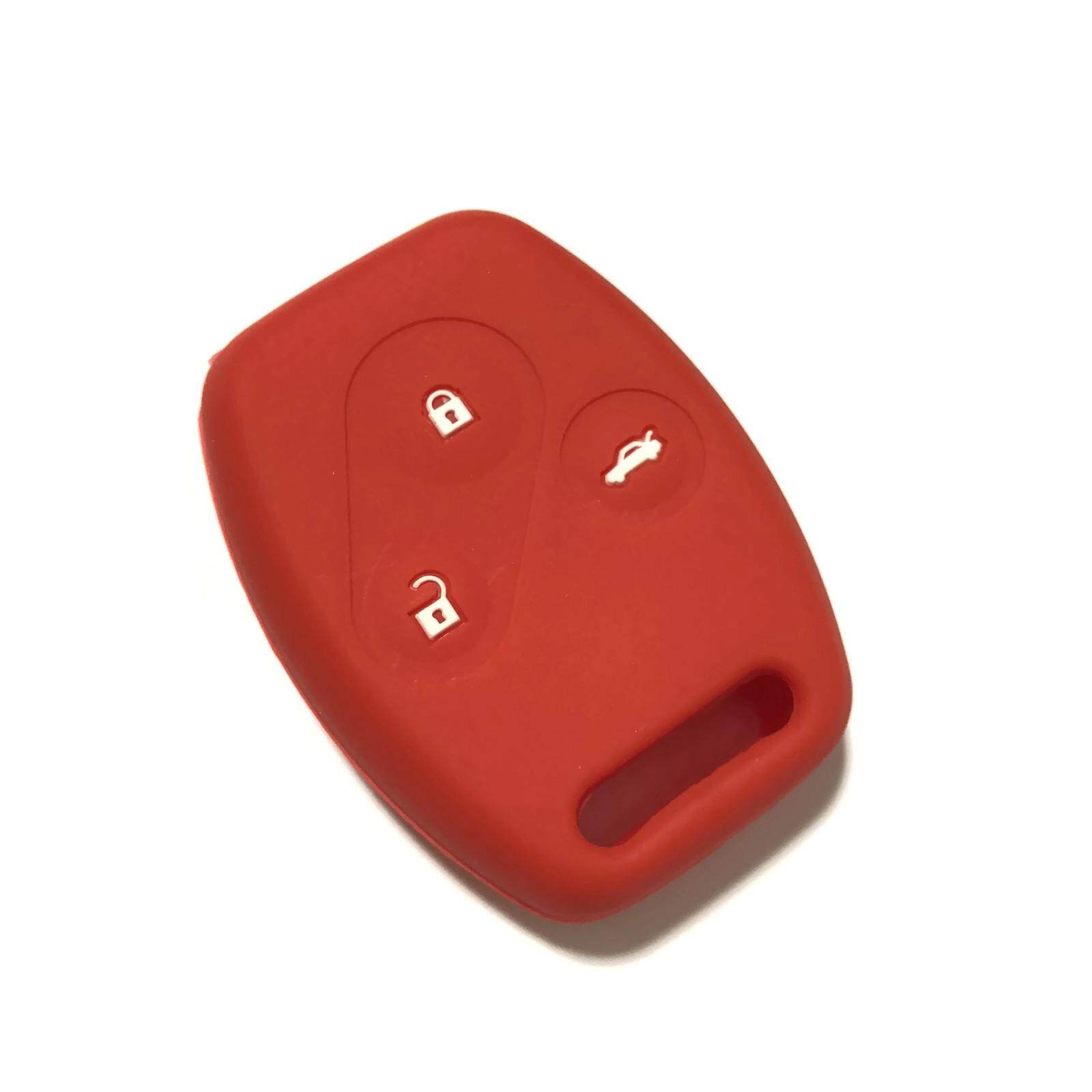 Silicone Car Key Cover Case Compatible with Honda Accord CRV 2002-2012 (Red)