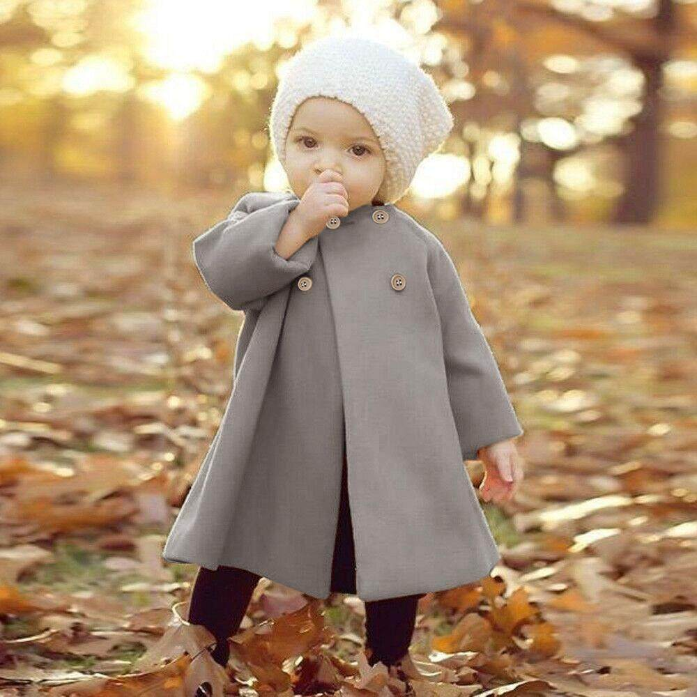 Docesty Autumn Winter Girls Kids Baby Outwear Cloak Button Jacket Warm Coat Clothes By Docesty.