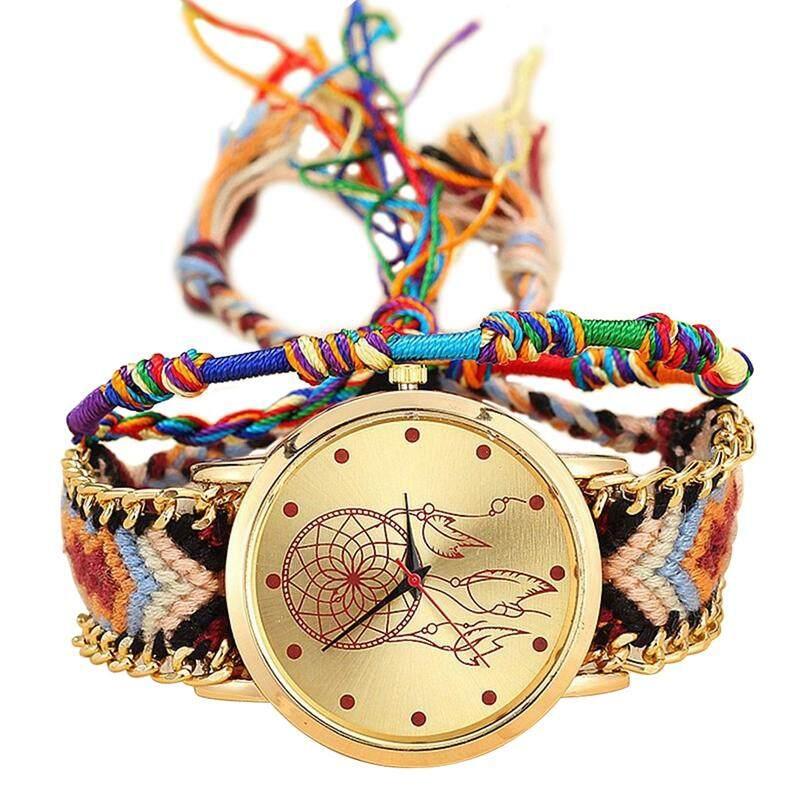 Handmade Braided Dreamcatcher Friendship Bracelet Watch Rope Watch Ladies Quartz Watches-color 4