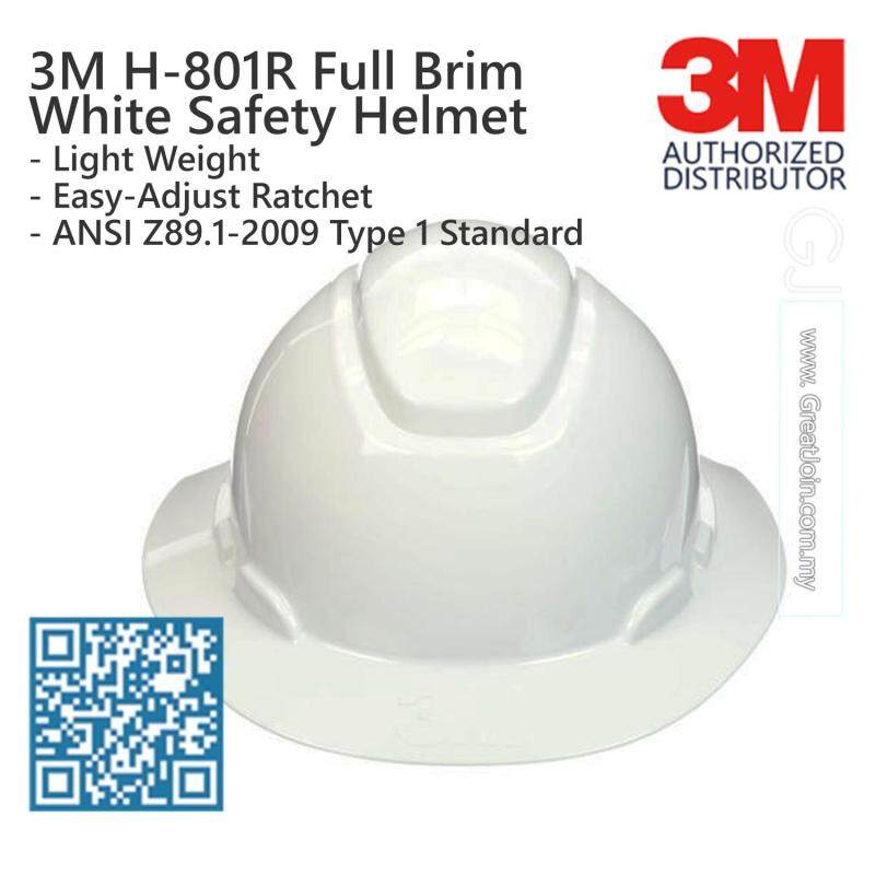 3M H-801R White Colour Full Brim Safety Helmet/ Hard Hat/ 4-Point Suspension Ratchet Type/ ANSI Approval [1 piece] Made in USA