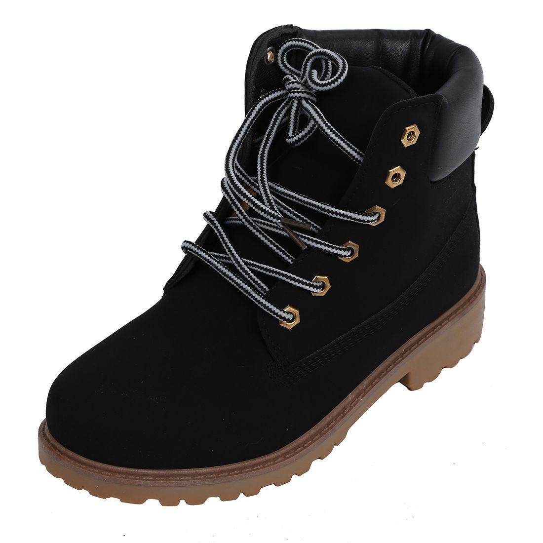 Men High Top Winter Boots Leather Waterproof Combat Hiking Work Ankle Shoes  Size44 black 8399ee0a17ee