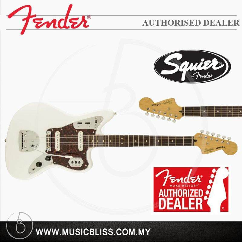 Fender Squier Vintage Modified Jaguar 6-String Electric Guitar, Rosewood Fingerboard (Olympic White) Malaysia