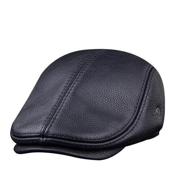 Mens Vintage Genuine Cowhide Beret Cap Earflaps Windproof Duckbill Warm  Black Brown Hats 3804ad66216