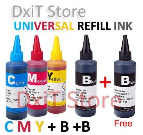 Universal Refill Ink Cmy+b+b 100ml For Ciss Printer By Dxit Store.