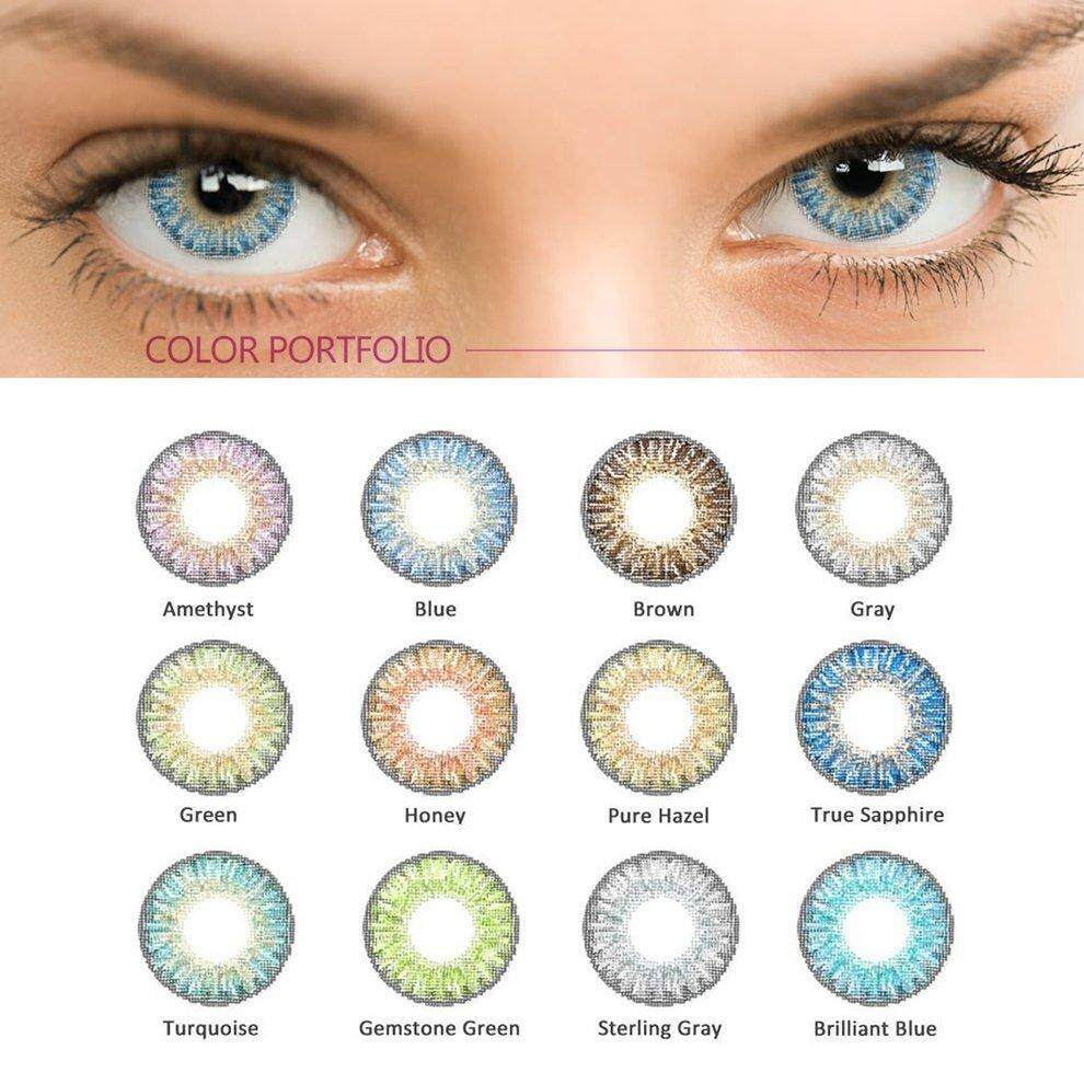 Popo 2pcs/set Beautiful Fashionable Soft Big Eye Makeup Coloured Contact Lenses Fluorescent Yellow By Bulapopo.