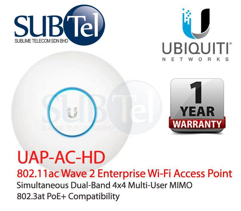 UAP-AC-HD Ubiquiti Networks Ceiling Wall Mount Dual Band Wave2 AC UAP High  Density 4x4 MU-MIMO WiFi AP 2 4Ghz 5Ghz UBNT Malaysia 2533Mbps 122m 802 3af
