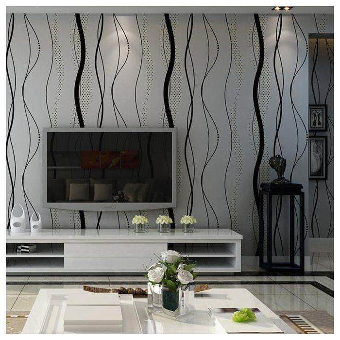 Wall paper for TV Background of Bedroom Wall Sticker 3D Curved Stripes Non-woven Wallpaper