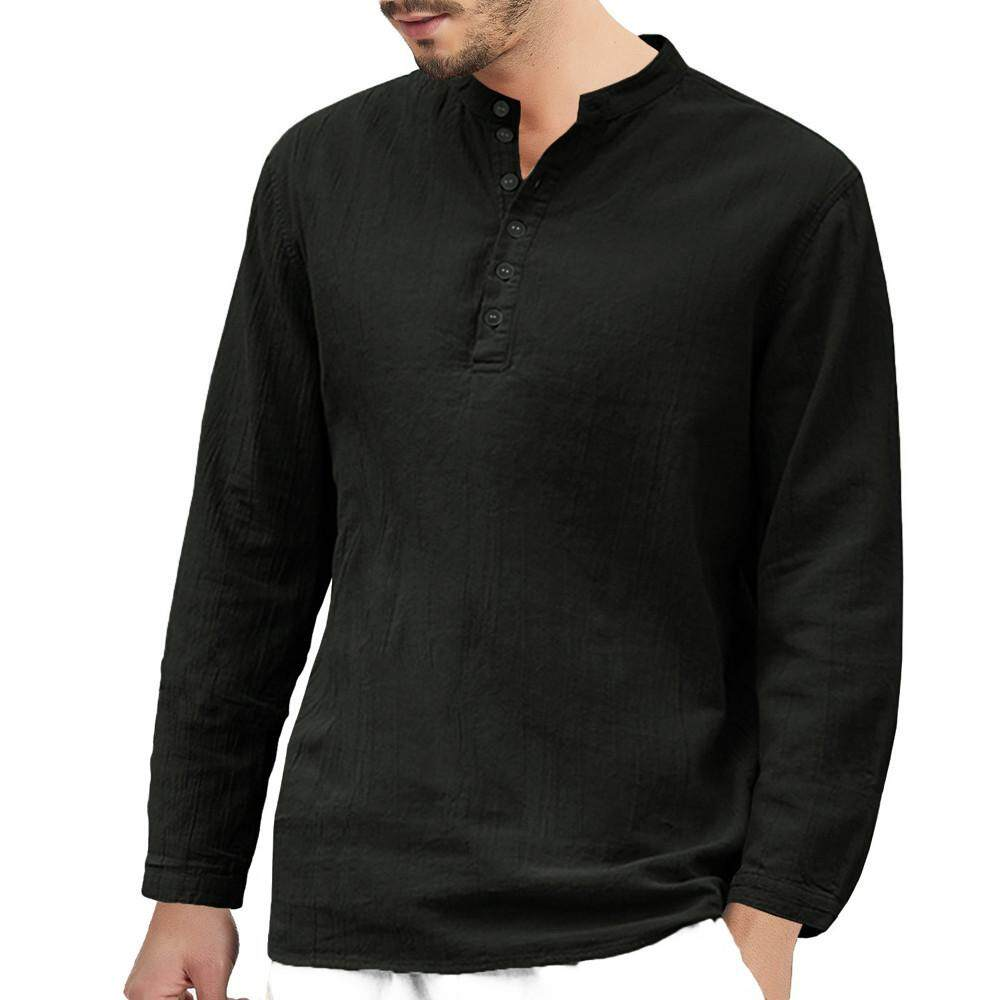 (Audestore)-Men's Baggy Cotton Linen Long Sleeve Button Retro V Neck T Shirts
