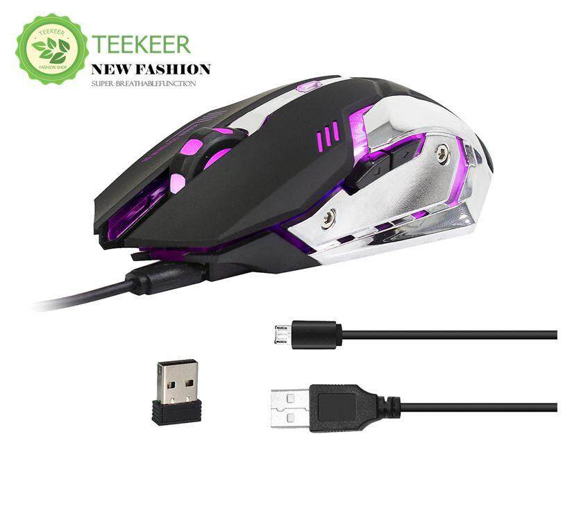 Teekeer Wire -less Mouse 2.4GHz Chargeable Gaming Mouse Ergonomic Design Gaming Mouse 2400DPI 7 Color LED Light Malaysia