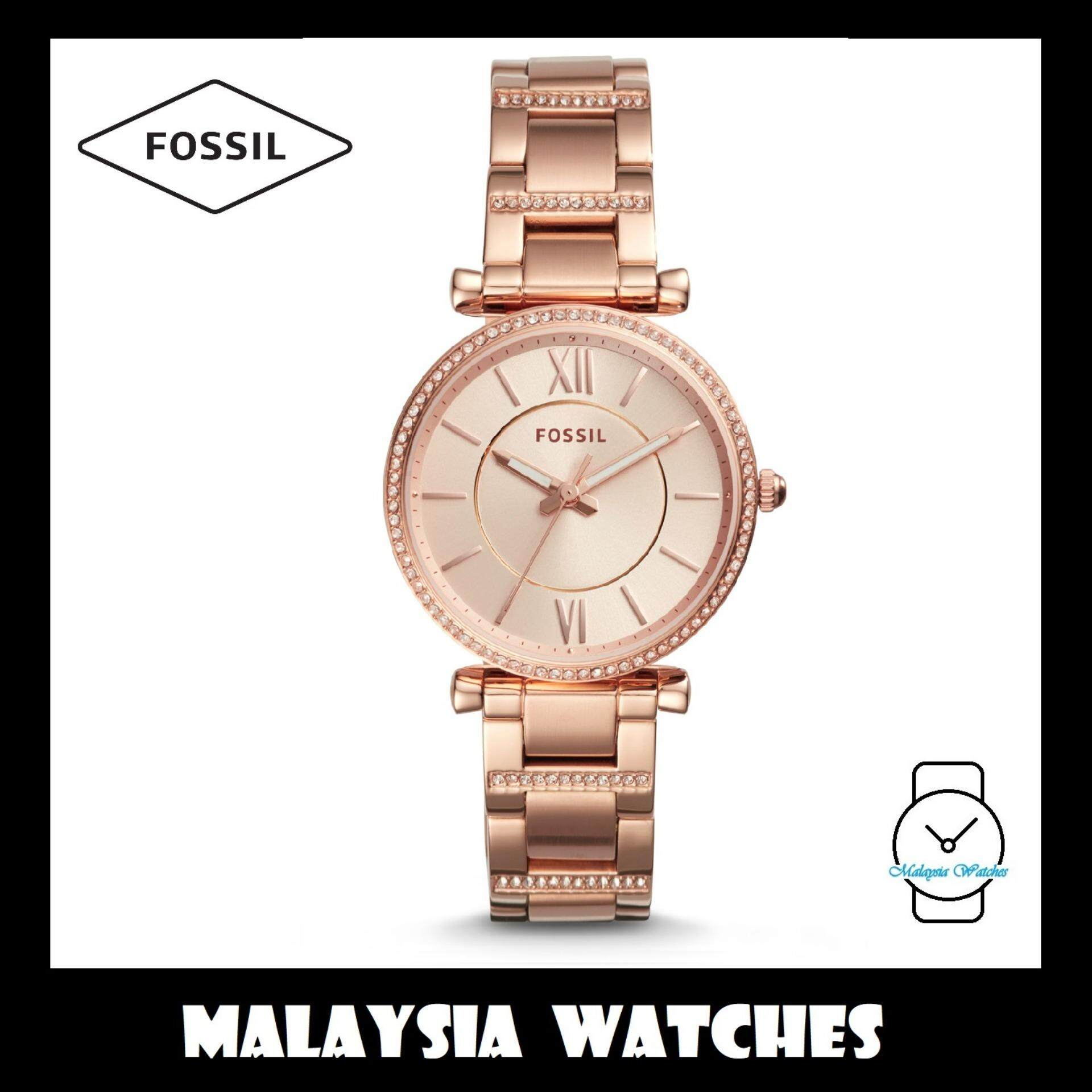 1c0e68cc611f (OFFICIAL WARRANTY) Fossil Women s ES4301 Carlie Three-Handed Stainless  Steel Watch (Rose