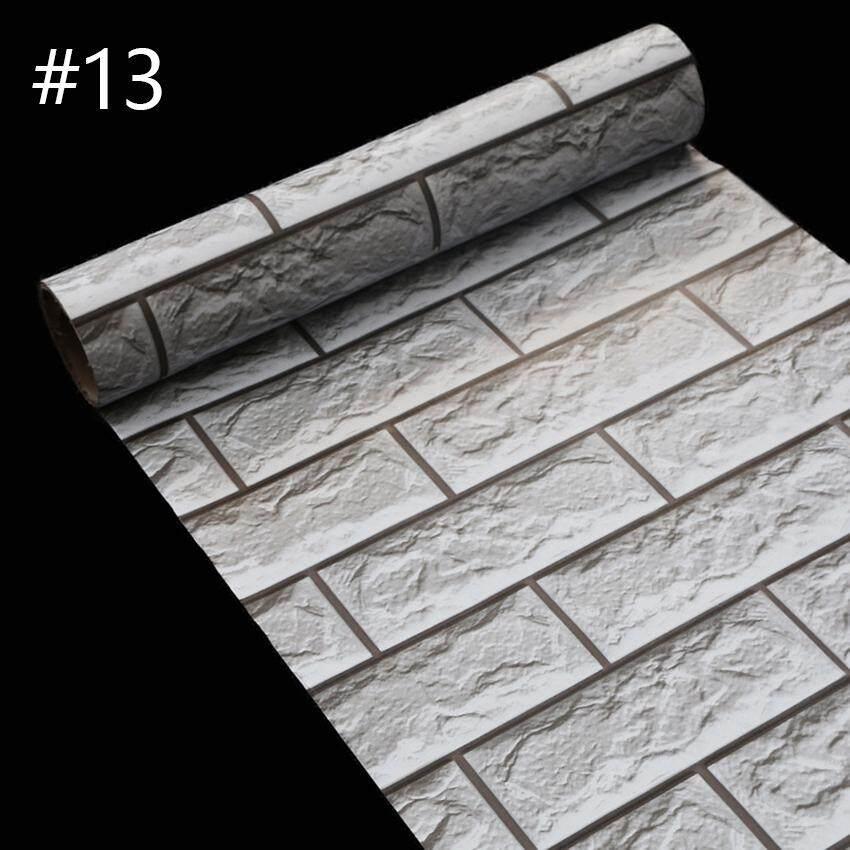 WT 45cm*10m 3D Wallpaper Thick PVC Self-adhesive Brick Pattern Waterproof Stickers