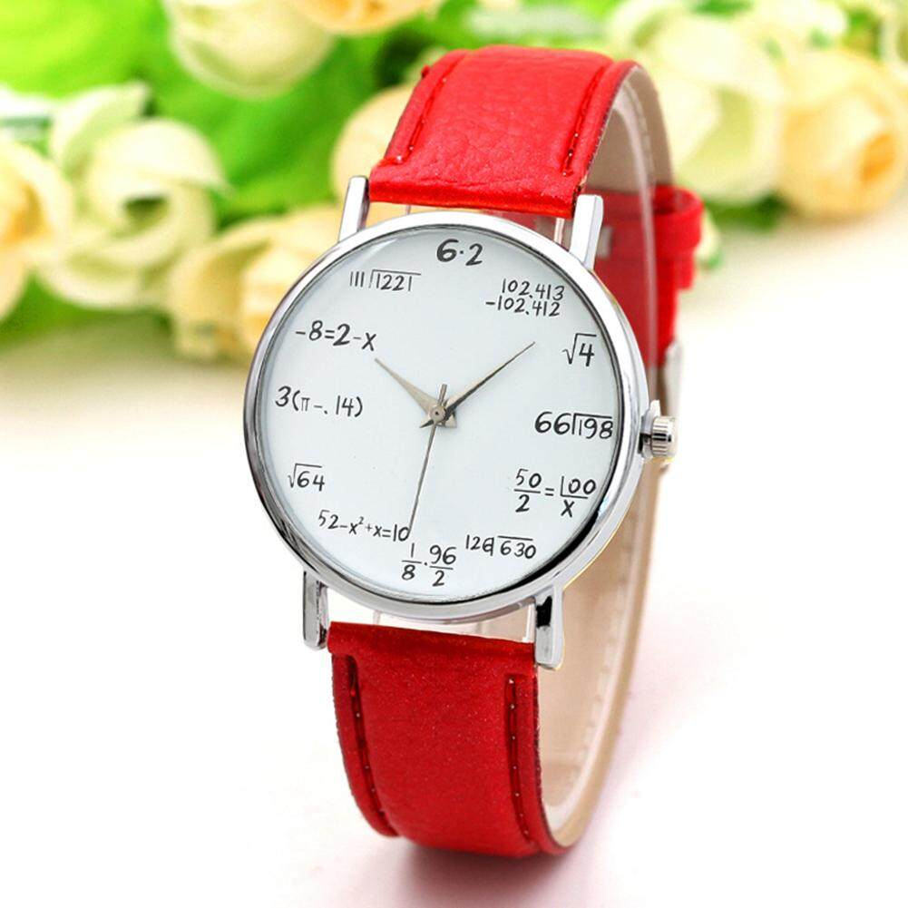 Fashion Quartz Watch Math Formula Round Dial PU Leather Casual Wrist Watches for Women and Men Malaysia