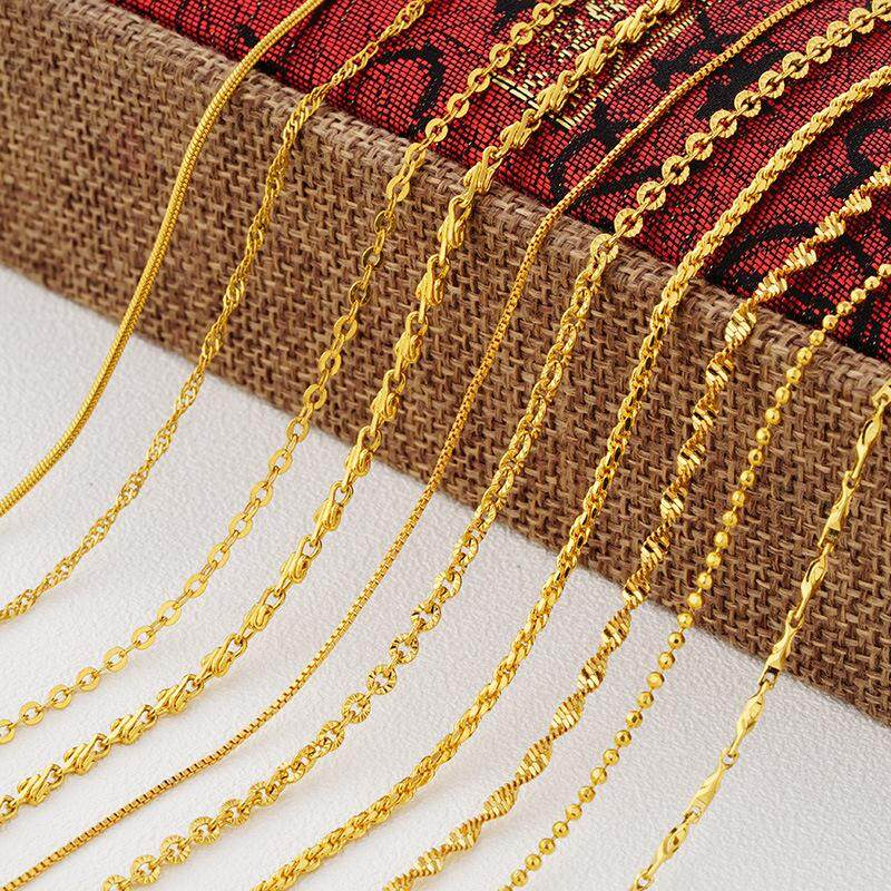 8cf739dca2609 Korean Style Gold Plated Single-necklace Gold Necklace Female Alluvial Gold  Snake Bone Water Wave Short Women's Choker Necklace