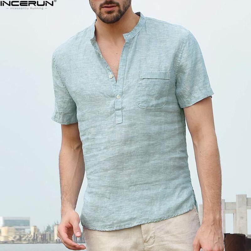 87028055b752 INCERUN Mens Summer V-Neck Button T-shirt Linen Loose Casual Short Sleeve  Tee