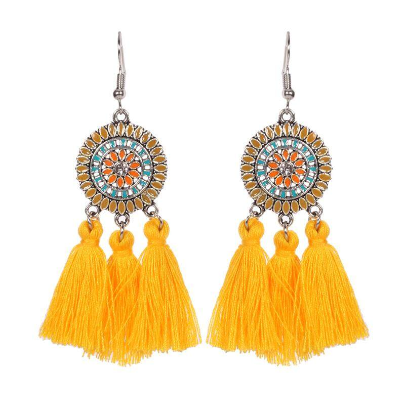 New Sun Flower Tassels Earrings Retro National Wind Earring Yellow By Sunshineyou.