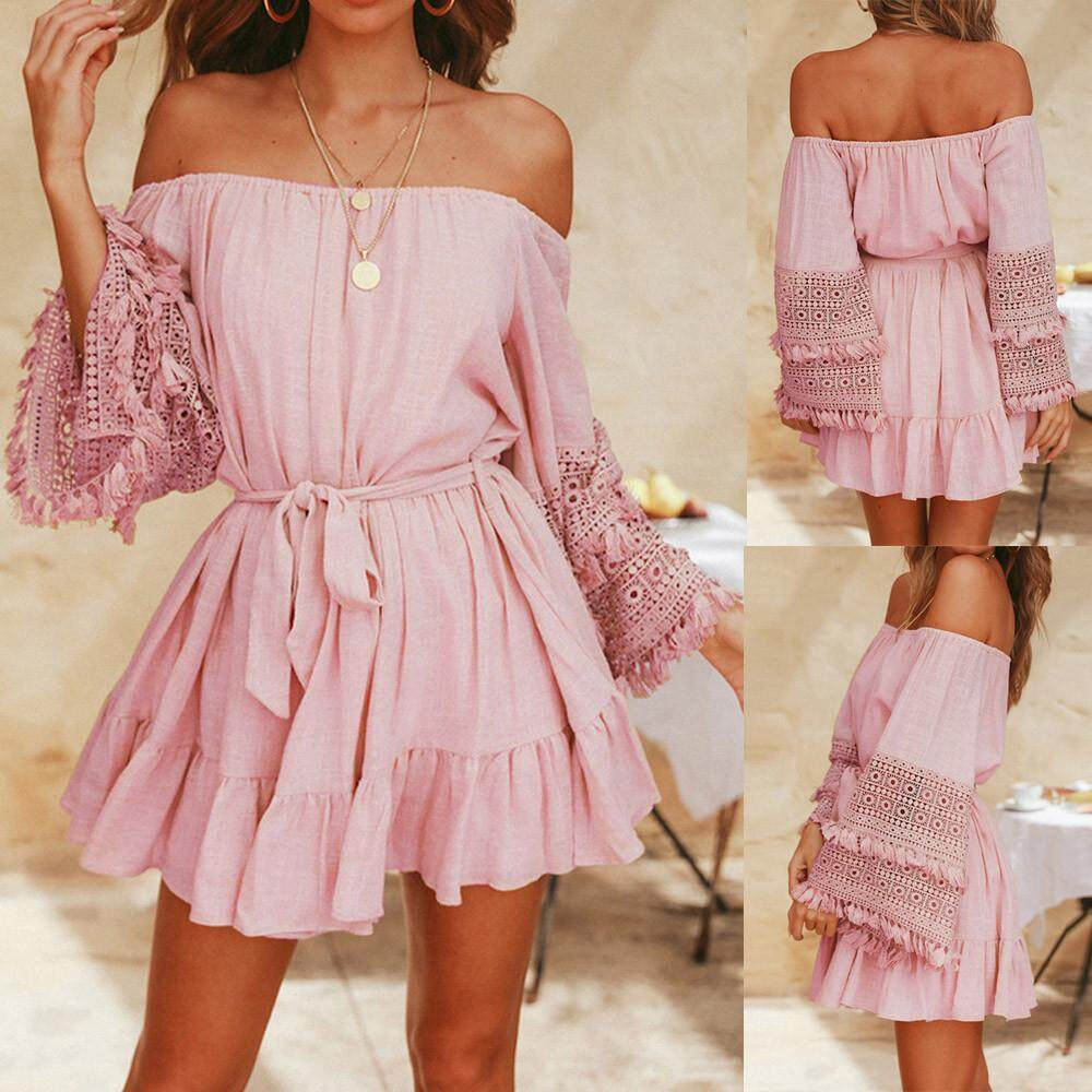 3164990e97 Genmoment Fashion Womens Summer Lace Off Shoulder Belt Evening Party Beach  Mini Dress