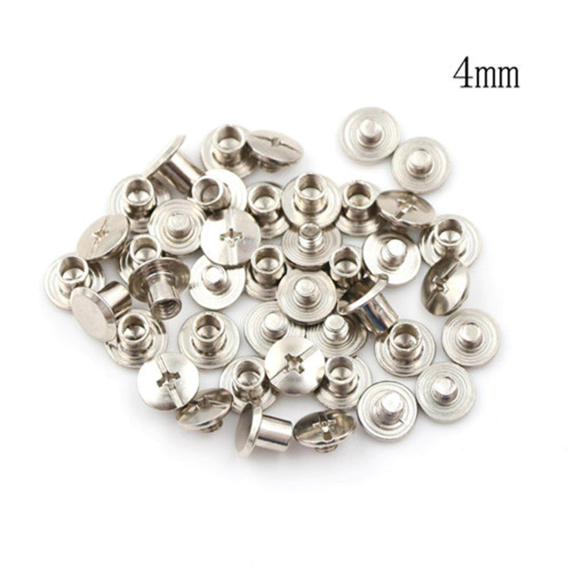 Mecola 20PCS Nickel Binding Chicago Screws Nail Rivets Album Craft 5x6mm Useful  4mm