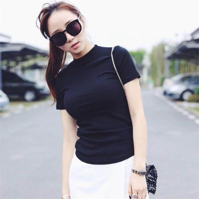 20f21f43a7d Yta 2018 Summer Korean style T-shirt women slim fit half neck short sleeve  women