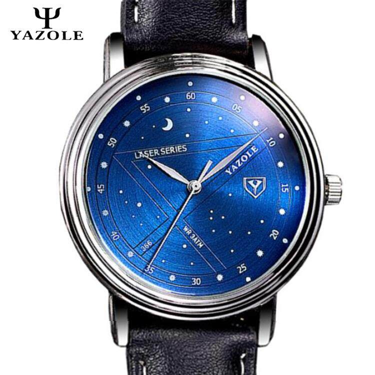 Original YAZOLE Star Night Sky Universe Metal Steel Dial Leather Strap Stainless Steel Business Quartz Mens Wrist Watch Black Blue / Brown Black Malaysia