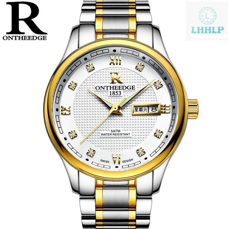 ONTHEEDGE RZY025 Luxury Waterproof Stainless Steel Belt Mens Watch Fashion Mens Wrist Watch Malaysia