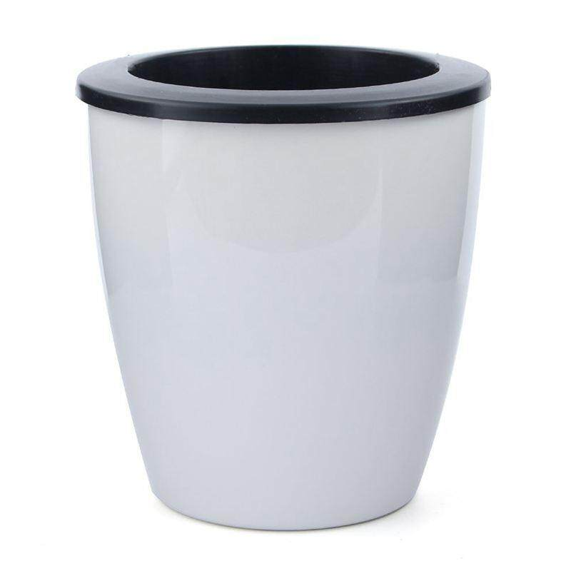 3 pcs automatic watering pot white resin flower pots, opening diameter 18cm high 20cm,L