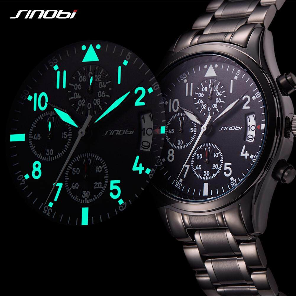 SINOBI New Pilot Mens Chronograph Wrist Watch Waterproof Date Top Luxury Brand Stainless Steel Diver Males Geneva Quartz Clock Malaysia