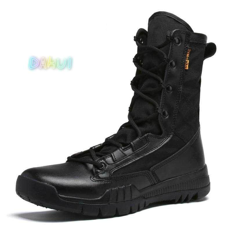 eb370ba90 Men Military Boots Tactical Desert Combat Ankle Boats Army Work Shoes  Leather Safety Boots (Black