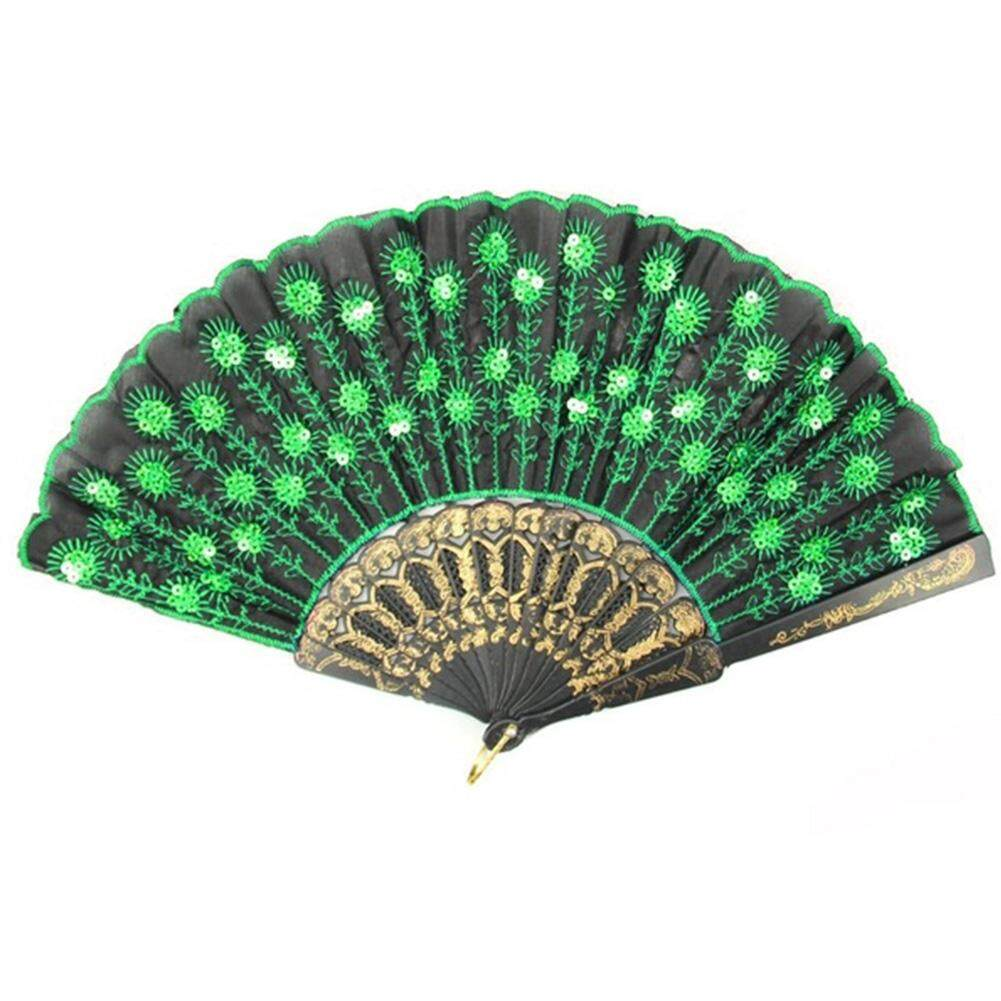 Embroidered Folding Sequins Hand Lace Flower Fan( Green )