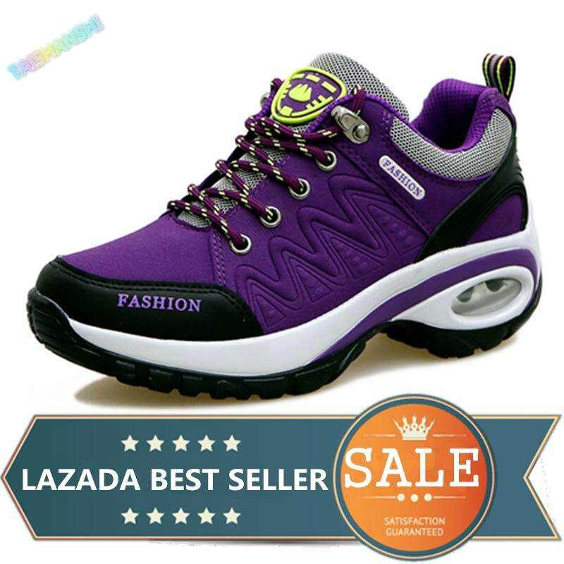 Womens Hiking Shoes Air Cushion Sneakers Heighten Casual Shoes Outdoor Sports Shoes (purple) By Taishanzhishi.