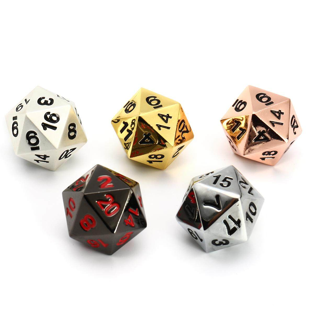 Solid Metal 5pc D20 Polyhedral Dice Set Copper, Silver, Gold, Obsidian, Pearl By Audew.