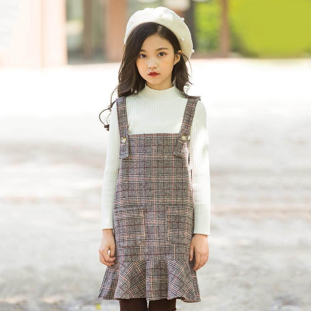 944e30e8451 Girl s Shoulder Strap Dress Korean Version Of Mao Tun Tong Children s Skirt  2018 Autumn Dress New