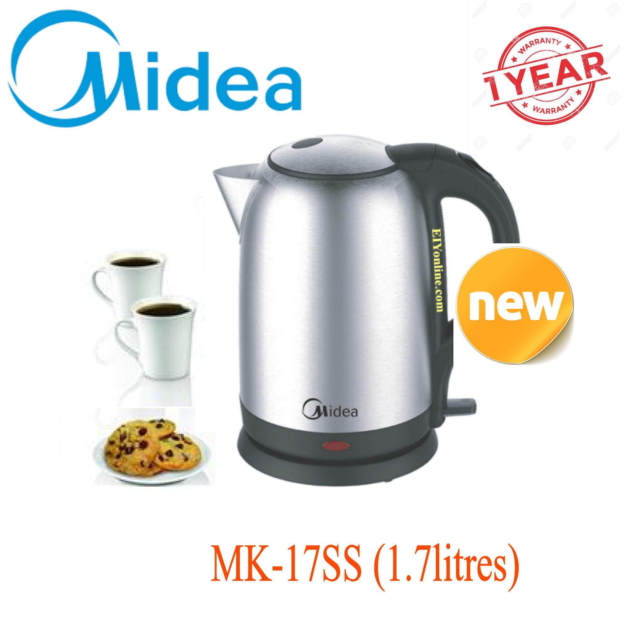 Midea Stainless Steel Electric Jug Kettle Mk-17ss (1.7l)_2311001 By Ediyonline.com.my.
