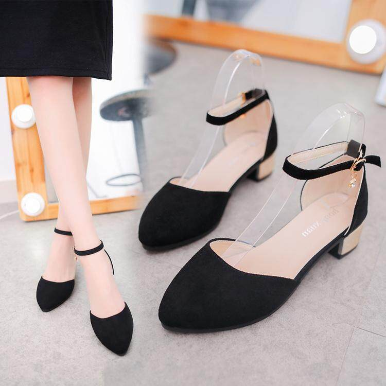 Korean-style beaded bracelet pointed hallow belted women shoes New style  high-heel pumps
