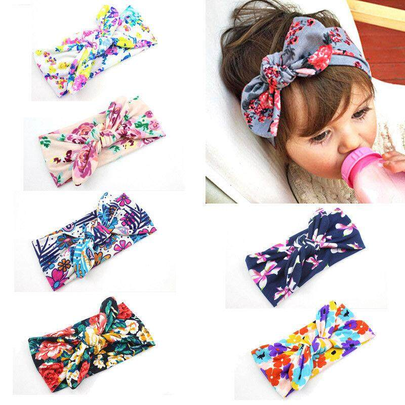 6 Pcs Baby Girls Rabbit Ears Elastic Hair Bands Flowers Bowknot Headbands By Yihe Store.