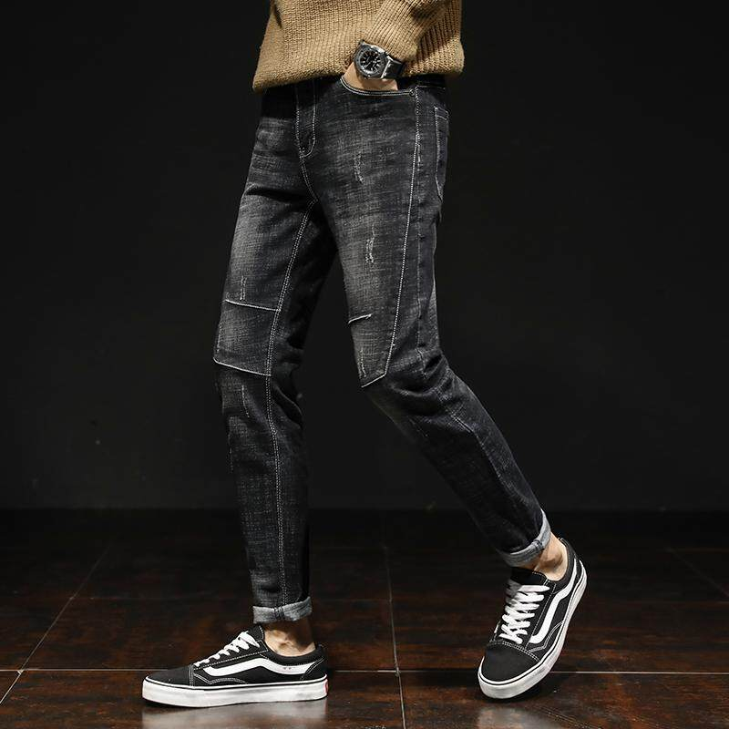 4d887351229 Autumn and Winter Men's Jeans New Fashion Men Casual Jeans Slim Straight  High Elasticity Middle Waist