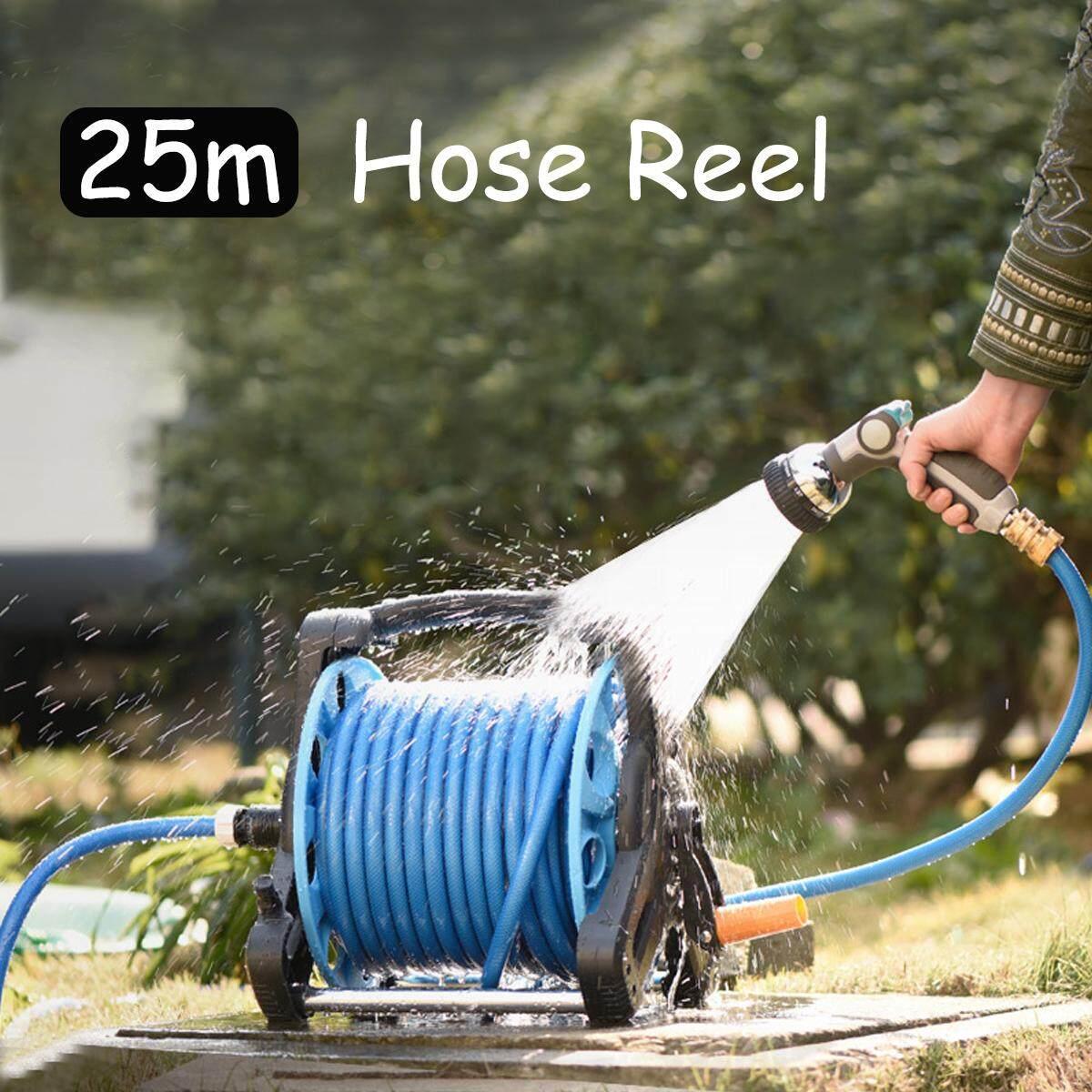 Garden Multi Purpose Wall Mount Hose Reel 25M Waterpipe Cart Storage Holder