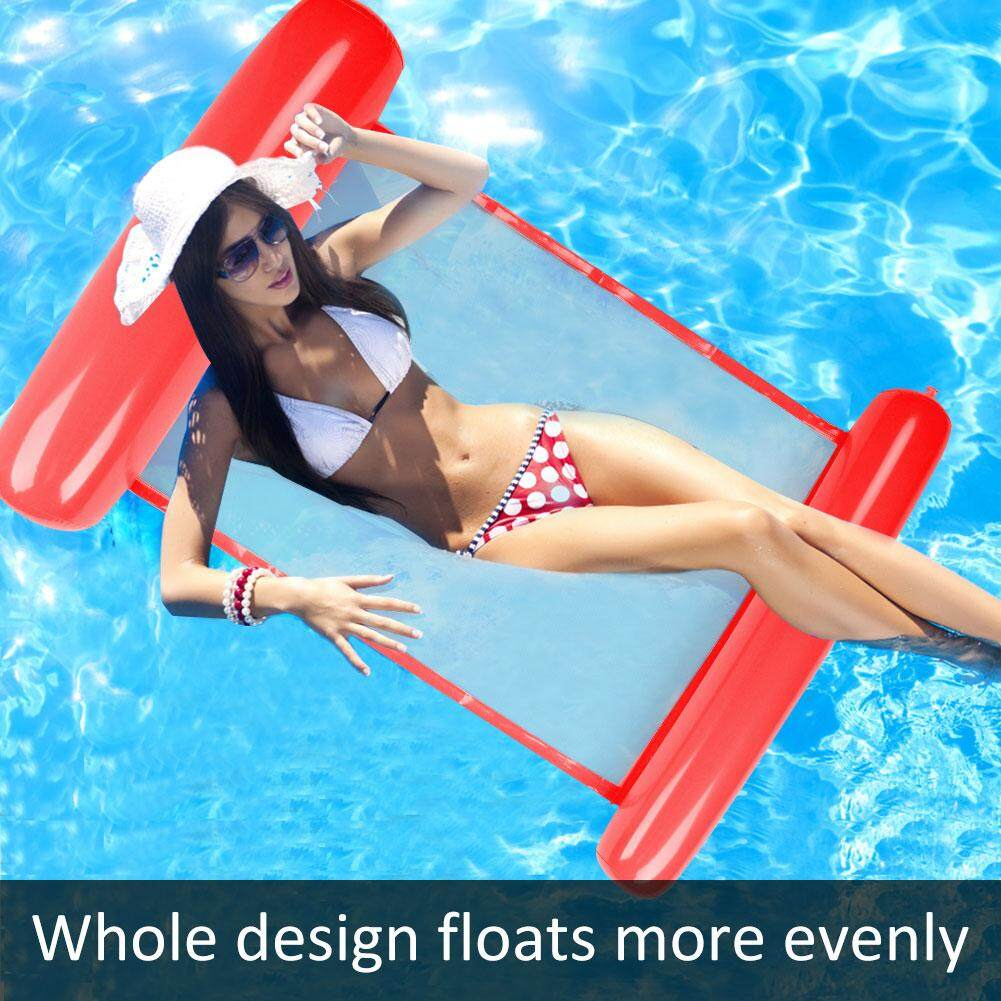 PVC Oversized Folding Backrest Water Floating Row Inflatable Floating Row Rafting Surf Beach Floating Bed Swimming Red