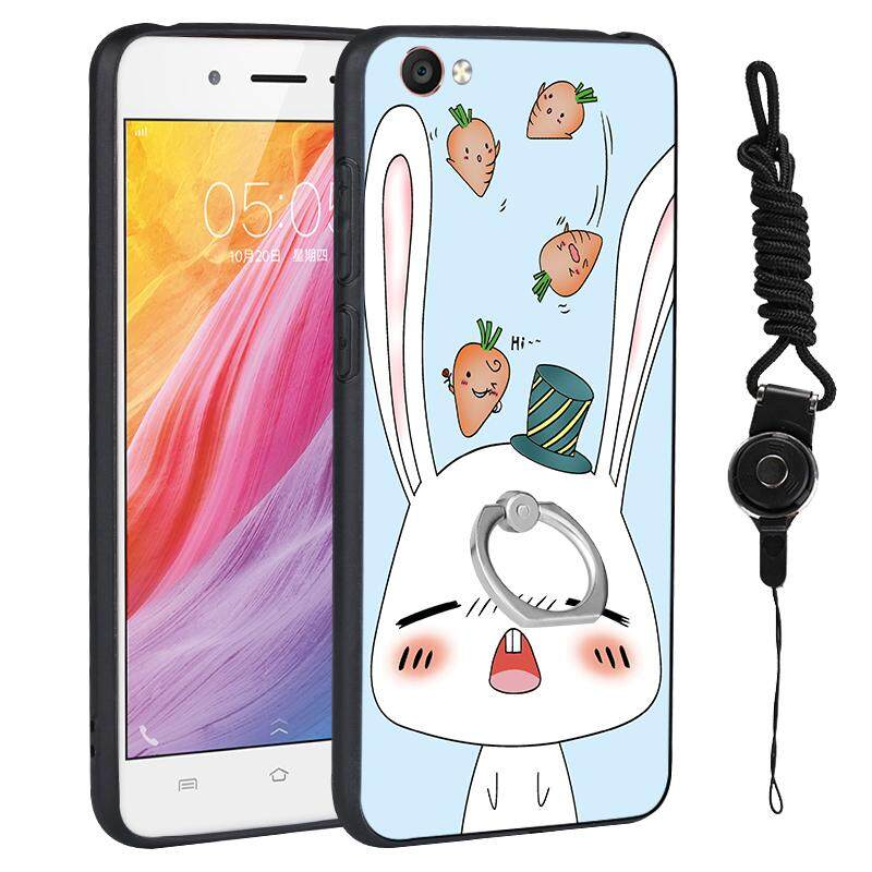 MYR 18. For Vivo Y55 Cartoon TPU + PC Matte Phone Case 360 Degree Ring Stand Holder Full Protection Relief Back Cover with LanyardMYR18