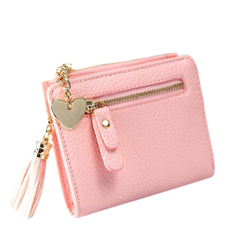9a2758bb19a625 DFZX Trade Women PU Leather Mini Wallet Card Holder Tassel Heart Pendant  Zipper Purse