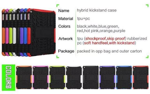 For iPad Mini 4 Hybrid Rugged Black Cover Hot Pink /& Black Shock Case