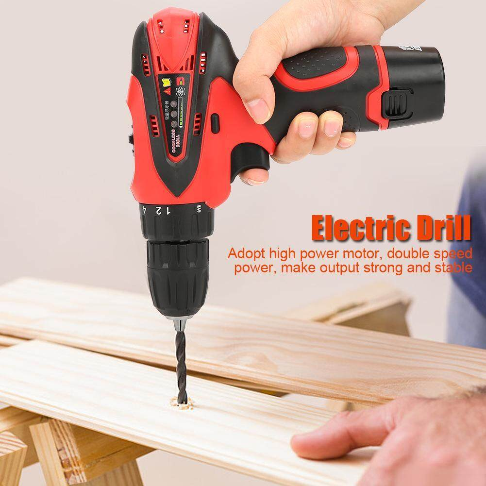 12V Rechargeable Lithium Battery Hand Cordless Electric Drill Screwdriver Kit(220V UK Plug )