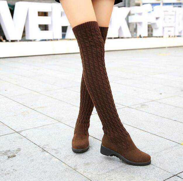 2019 Fashion Knitted Women Knee High Boots Elastic Slim Autumn Winter Warm  Long Thigh High Boots 4ed808a278b3