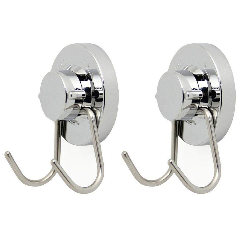 2x Vacuum Stainless Steel Suction Cup Hook,double Hooks Wall Hook,bath Towel Hook,heavy Duty Suction Cup Hooks Holds By Lapurer.